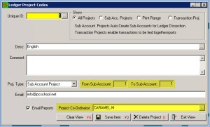 GL Project Codes are set up in PCSchool 'Back Office and assigned to the department head