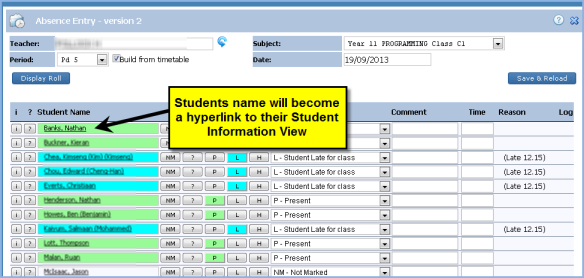 Enable link to Student Information from Absence Entry