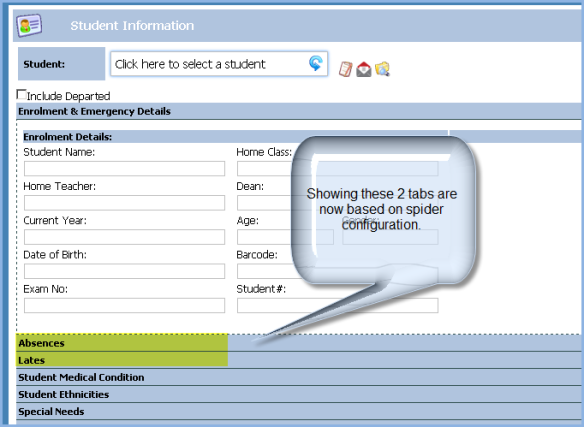 Hide or Show Student Absence and Lates tabs
