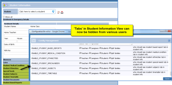 Hide Student Tabs